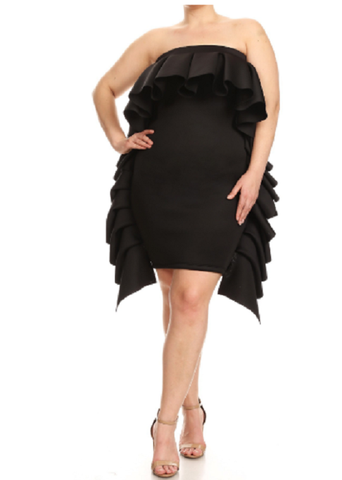 Curvy7 Solid Black Ruffle Two Way Skirt/Dress