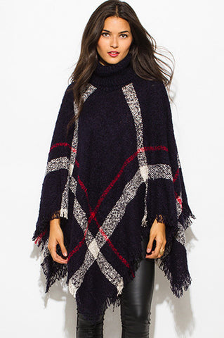 Black Plaid Boho Poncho