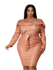 Deep Peach Off Shoulder Leatherette Dress