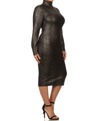 Faux Snakeskin Dress