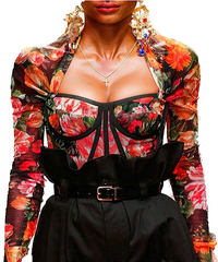 Floral Bustier Sheer Crop Top