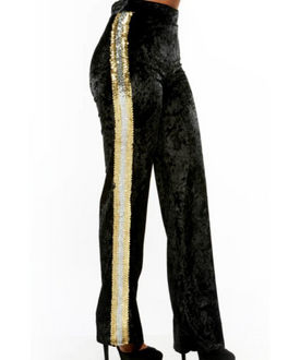 Black Crush Velvet Gold Sequin Pants