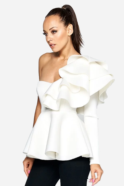 Ivory One Sleeve Flare Peplum Top