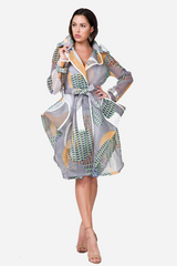 Light Geo Print Mesh Blazer/Coat