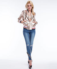 Metallic Rose Gold Bomber Jacket