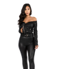 Off Shoulder Leatherette Jacket