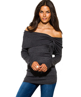 Charcoal Off-Shoulder Sweater