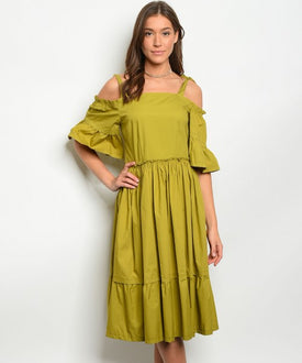 Chartreuse Off-Shoulder Dress