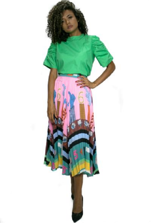 Pink Whimsical Pleated Skirt