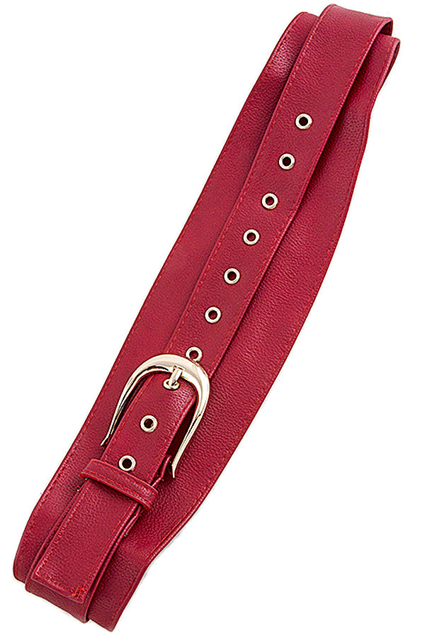 Faux Red Overlapping Belt