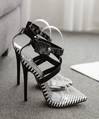 Clear Pointed Black White Stripe Heels