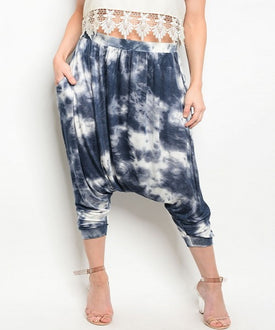 Blue and White Tie Dye Harem Pants