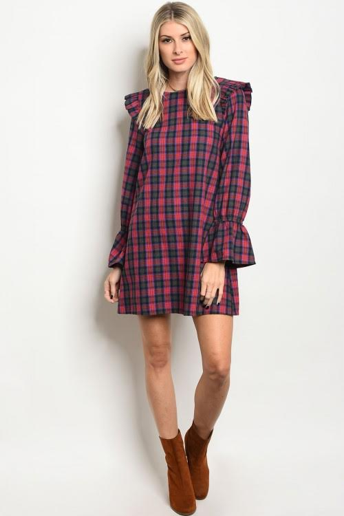 Red and Gray Flannel Shift Dress