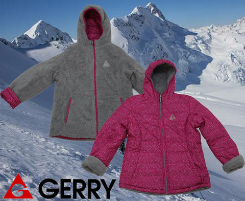 Gerry Girl's Hooded Reversible to Berber Down Jacket - Camellia - Size Large