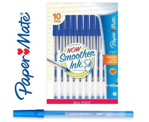 Paper Mate Eagle 1.0mm Ball Point Pens Blue -10 Pack
