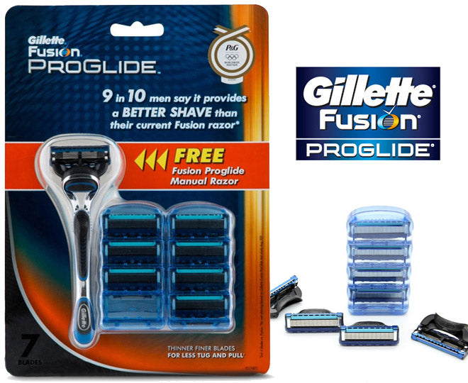 Gillette Fusion Proglide Manual Razor + 7 Pack Razor Blades Cartridges