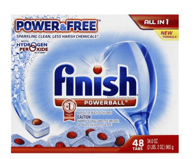 Finish Power & Free All In One Powerball Dishwashing Capsules 48 Pack