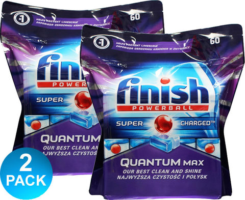 Finish Powerball Quantum Max Super Charged Dishwashing Tabs 60 Pk - Multi-Saver 2 Pack