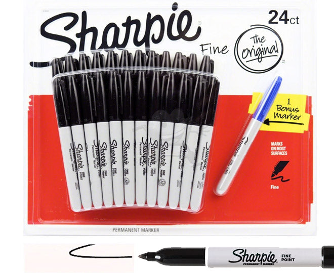 Sharpie Black Fine Point Waterproof Permanent Marker Pens 24 Pack + 1 Bonus Pen (Assorted Colors)