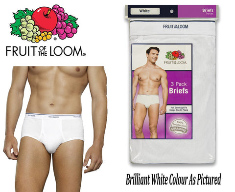 Fruit Of The Loom Men's White Briefs 3 Pack (Click here to select size)