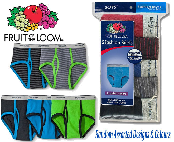 Fruit Of The Loom Boy's Fashion Briefs 5 Pack Assorted Random Colours & Designs (Click here to select size)