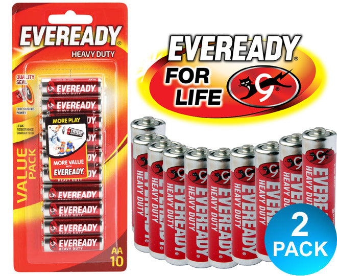 Eveready Heavy Duty Size AA Batteries 10 Pack Multi-Saver 2 Pack