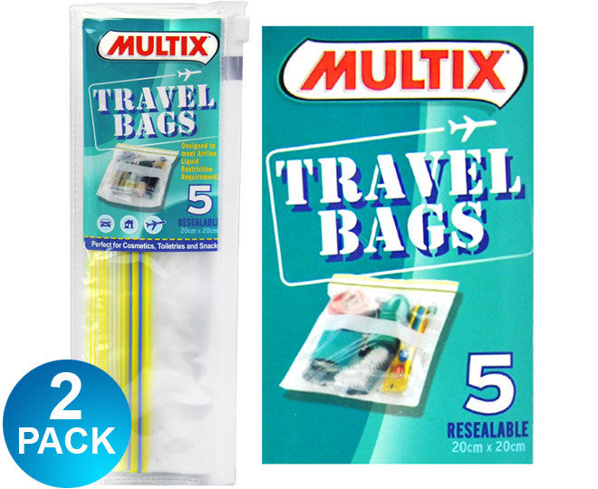 Multix Travel Bags Resealable 5Pk 20cm x 20cm Multi-Saver 2 Pack