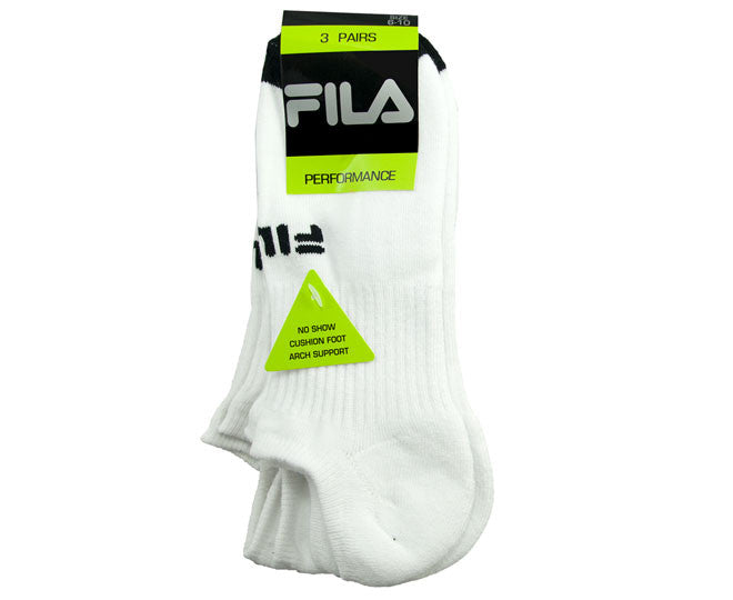 Fila Mens Performance Cushion Foot Sports Sock 3 Pack Size 6-10 White/Black Toe