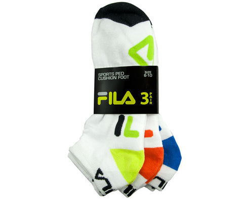 Fila Mens Performance Cushion Foot Sports Sock 3 Pack Size 6-10 White/Assorted Colour Logo/ Black Toe