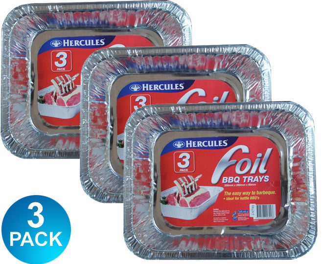 Hercules 3 Pack Aluminium Foil Bbq Trays Rectangular 330mm x 260mm x 60mm Multi-Saver 3 Pack