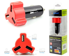 mbeat 4.8A/24W Triple USB Port Car Charger (Click to select Colour)