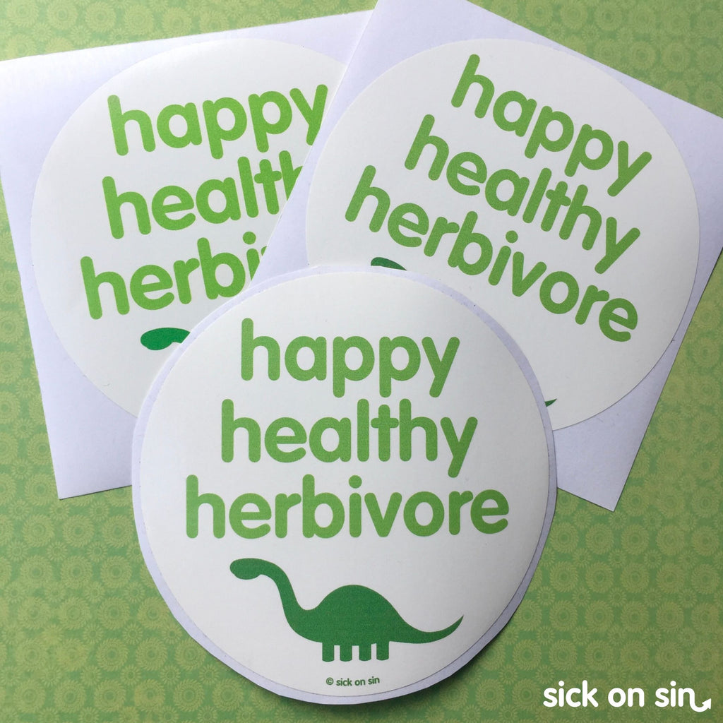 Happy Healthy Herbivore - Vinyl Sticker (Large)