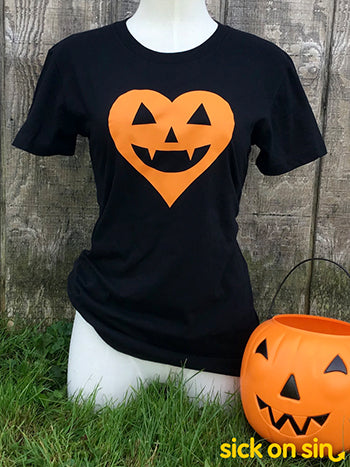 Jack-o'-lantern Heart (Orange) - Men / Women Tee