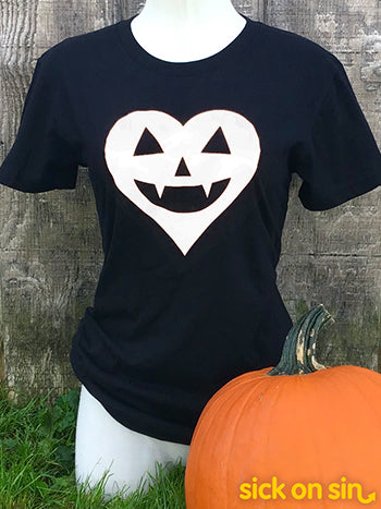 Jack-o'-lantern Heart (White) - Men / Women Tee