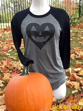 Jack-o'-lantern Heart (Black) - Unisex Adult Baseball Shirt