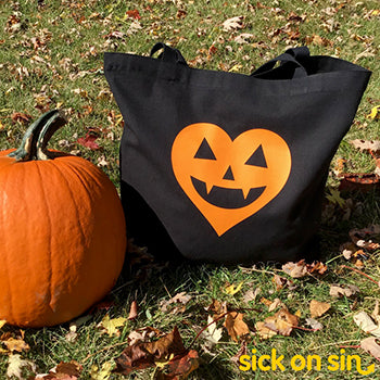 Jack-o'-lantern Heart Orange - Tote Bag (Extra Large)