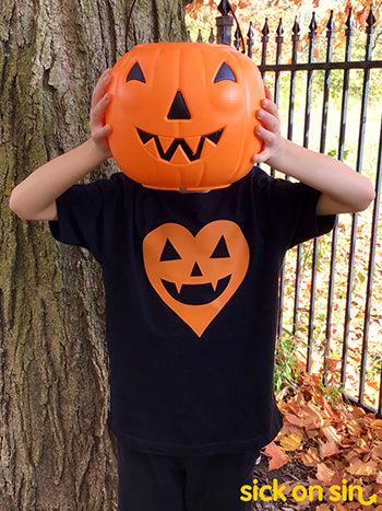 Jack-o'-Lantern Heart (Orange) - Kid Tee