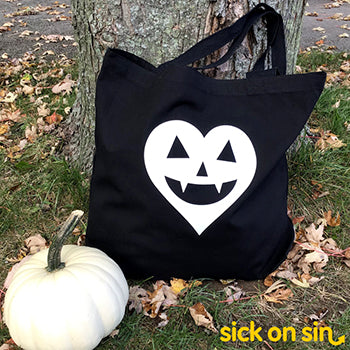 Jack-o'-lantern Heart White - Tote Bag (Extra Large)