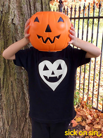Jack-o'-Lantern Heart (White) - Kid Tee