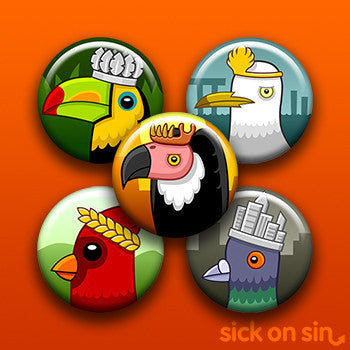Game Of Nests - 5 Pack Buttons / Magnets (*Limited Edition*)