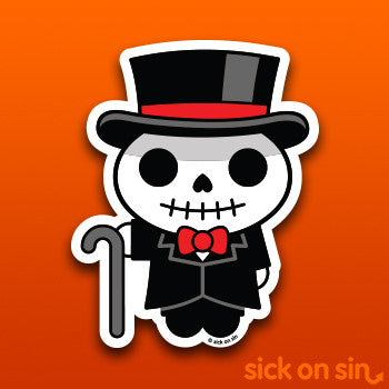 Dapper Skeleton - Vinyl Sticker *ONLY 1 LEFT!*