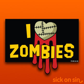 I Love  Zombies - Vinyl Sticker