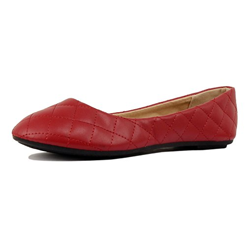 Womens Classic Round Toe Basic Comfort Ballet Ballerina Walking Flats Shoes Red Quilted