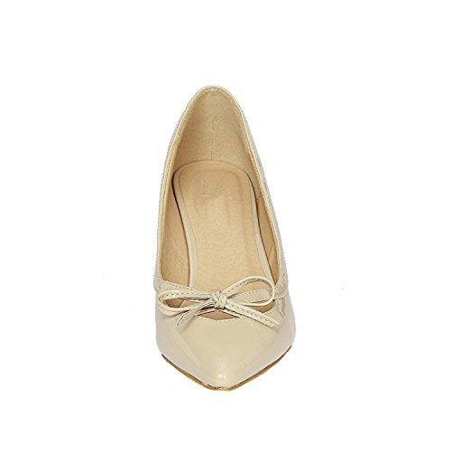 Guilty Shoes Women's Fashion Patent Low Heel Pumps Beige