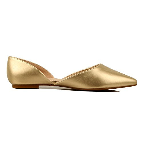 Guilty Heart Women's D'Orsay Almond Pointed Toe Slip On Casual Flats Gold Pu