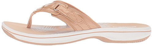 CLARKS Women's Breeze Sea Platform, Nude Synthetic Patent