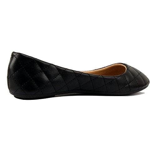 Womens Classic Round Toe Basic Comfort Ballet Ballerina Walking Flats Shoes Black Quilted