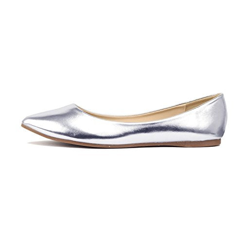 Guilty Shoes Womens Classic Pointy Toe Ballet Slip On Comfortable Flats Silver Pu