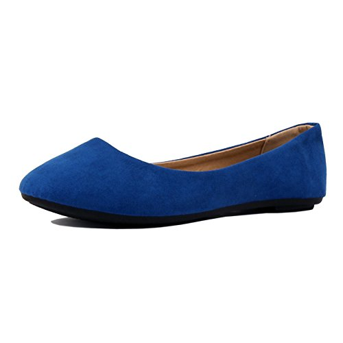 Womens Pointy Toe Slip On Classic Ballet Flat Flats-Shoes Blue Suede