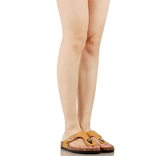 Guilty Heart Women's Casual Soft Eva T-Strap Walking Slides Sandal Sandals Tan Pu